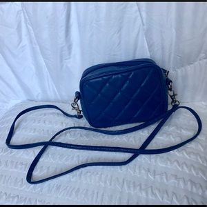 Blue quilted small crossbody purse